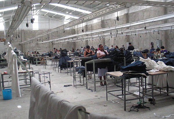Inside a maquiladora in Mexico.
