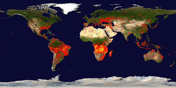 Fires recorded by NASA Terra and Aqua satellites over a 10-day period (August 28-September 6, 2016)
