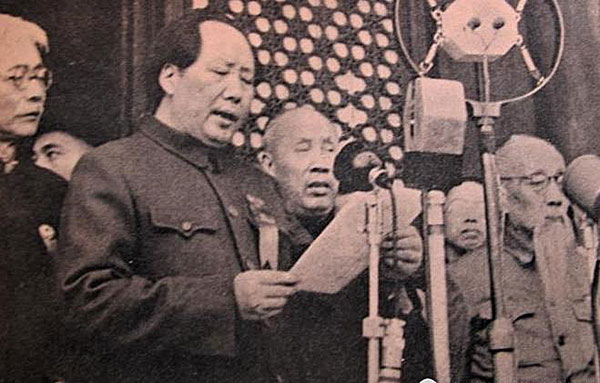 Mao Zedong declared The Chinese People have stood up! October 1, 1949