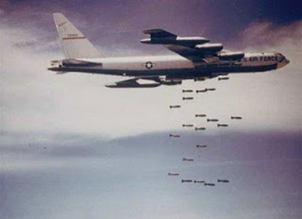 B-52 bombers dropping bombs