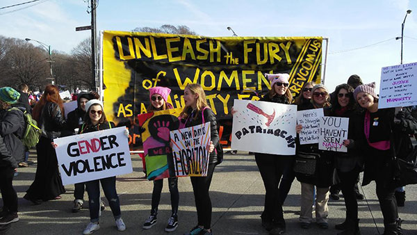 Unleash the Fury of Women banner at the Chicago March