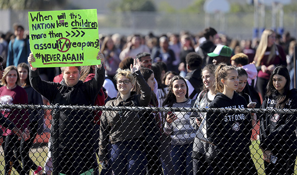 Students protest at Stoneman Douglas High School, Florida, March 14, 2018