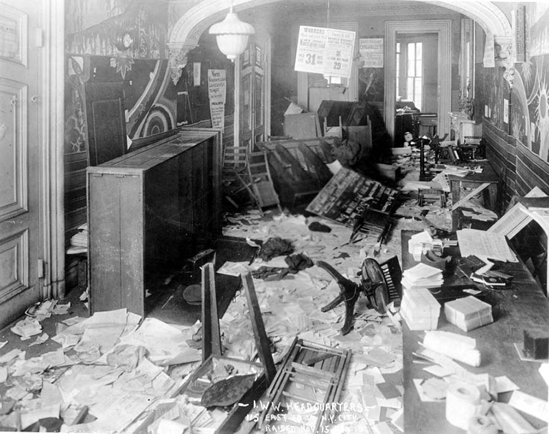 Inside the IWW office in New York after the raid of November 15, 1919, furniture is broken and overturned and papers are scattered everywhere.