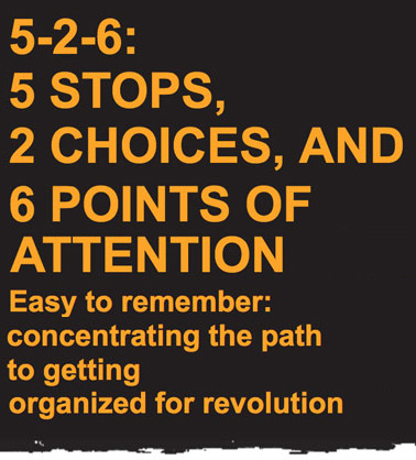 5-2-6: 5 STOPS, 2 CHOICES, AND 6 POINTS OF ATTENTION - Easy to remember: concentrating the path to getting organized for revolution