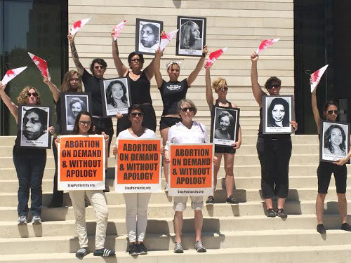 Abortion Rights freedom riders at Austin, Texas courthouse, August 2014