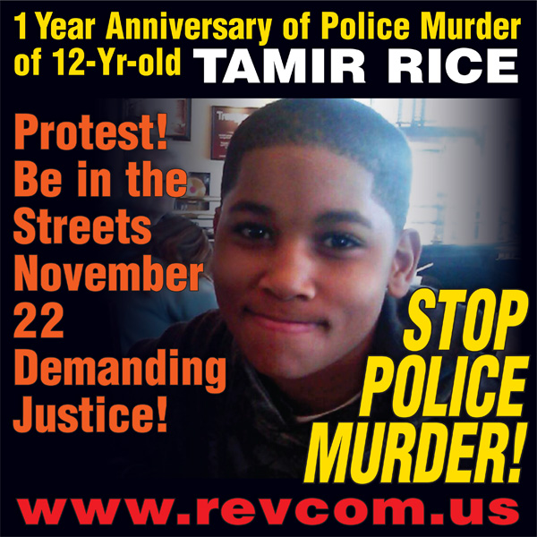 1 year anniversary of police murder of 12-year-old Tamir Rice. Protest November 22 demadning justice!